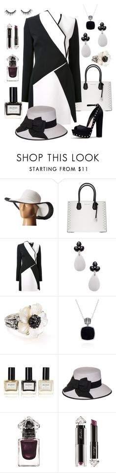 """""""Black and White Style 2"""" by dundiddit ❤ liked on Polyvore featuring San Diego Hat Co., MICHAEL Michael Kors, Thierry Mugler, Rina Limor, Stephen Dweck, Belk & Co., Balmain, Black, Guerlain and tarte"""