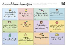 Verras je kind met brooddooskaartjes – Klasse Toddler Snacks, Toddler Activities, Kids Lunch Box Notes, Coaching, Jesus Help, Joelle, Kids Study, Kids And Parenting, Dyslexia