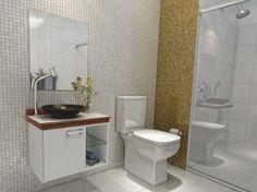 Gabinete para Banheiro com Cuba e Espelho 3 Peças - Simples 1 Porta - VTec Alpha
