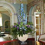 Blue flower arrangement for Farmleigh hotel lobby