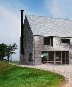 grey timber cladding on stone house Modern Farmhouse Exterior, Farmhouse Style, Farmhouse Ideas, Timber Cladding, Cedar Cladding House, Brainstorm, Exterior Design, Future House, Modern Architecture