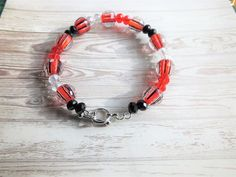 Red Black Toggle Bracelet Red Striped Beads Black Beaded Bracelet Clear Rondelle Beaded Toggle Bracelets Silver Toggle Bracelet Toggle by BlingItOutLoudCharms on Etsy