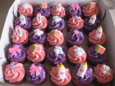 Her mini red velvet cupcakes to have pink and purple frosting pink  purple frosting for cupcakes
