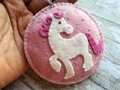 Felt Unicorn ornament Wool felt Horse ornament Girls #feltornaments