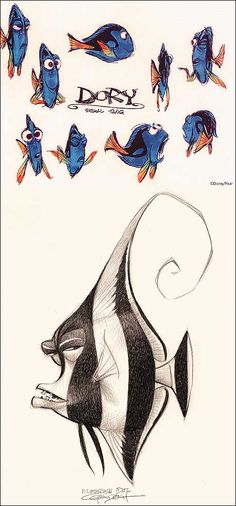 Nemo concept art. If anything, I enjoy foraging for concept art than I do watching the finished product. Each sketch has such personality inserted by the artist.