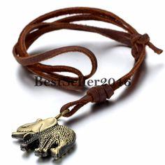 Damen Herren Halskette Retro Niedlich Elephant Anhänger mit Leder Kette Braun