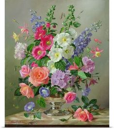 New 'A September Floral Arrangement' by Albert Williams Painting Print by Great Big Canvas Wall Art Decor. Fashion is a popular style Painting Prints, Wall Art Prints, Poster Prints, Paintings, Art Floral, Flower Pictures, Flower Art, Canvas Wall Art, Big Canvas