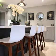 So, schools out for summer! So far I am doing well. The house is staying tidy! We still have about 5 rooms left to complete plus hallway… Kitchen Stools, Bar Stools, Interior Garden, Interior Design, School's Out For Summer, Open Plan Kitchen, Kitchen Ideas, Living Spaces, Living Room