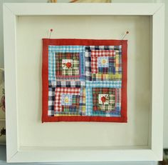 Shadow box for pieces of grandmas quilts and lace?  Plaid madness