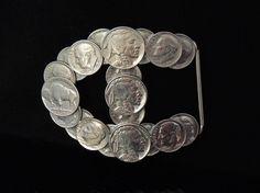 ROCKABILLY Belt Buckle BUFFALO Nickels & Dimes - Contemporary Folk Art by PremierAntiquesNY on Etsy https://www.etsy.com/listing/178154087/rockabilly-belt-buckle-buffalo-nickels