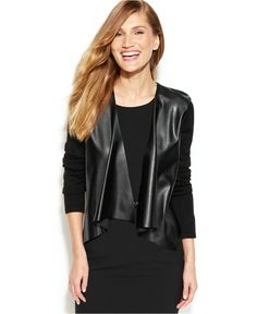 CALVIN KLEIN 5150 Faux-Leather-Panel Knit Shrug. Taille L.