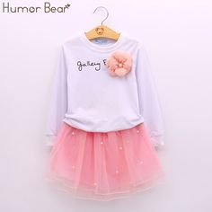 Humor Bear Baby Girl Clothes New Spring And Autumn Long Sleeve T-Shirt + Pink Princess Dress Kids Clothes Girls Clothing #Affiliate