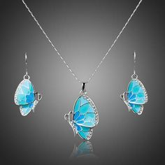 Cheap necklace set, Buy Quality pendant necklace set directly from China drop set Suppliers: AZORA White Gold Color Stellux Austrian Crystal Butterfly Drop Earrings and Pendant Necklace Set Butterfly Jewelry, Butterfly Pendant, Blue Butterfly, Butterfly Bracelet, Cute Jewelry, Jewelry Sets, Necklace Set, Pendant Necklace, Fashion Accessories