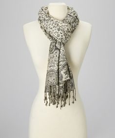 This Charcoal Paisley Cashmere-Silk Blend Scarf is perfect! #zulilyfinds  $16.99 from 60.00