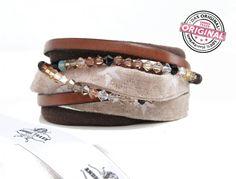 Armband gewickelt aus Leder, Stoff & über 100 Perlen kombiniert in beige mit Sternen & Magnetverschluss Wickelarmband für Frauen