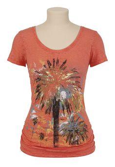 Sketchy Palm Tree Print Burnout Tee - maurices.com