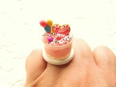 Kawaii Food Ring Strawberry Pudding Lollipop Cookie #etsy #fashion #shopping $12.5