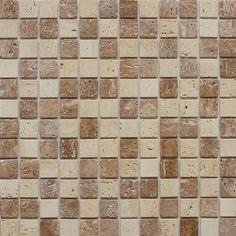 Found it at Wayfair - Natural Stone Peel & Stick Mosaic in Dark Brown & Beige