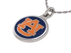 Auburn TIGERS Charm pendant necklace made in solid sterling silver with enameled background. Auburn charms can be worn on a chain or dangle them from a bracelet. $49