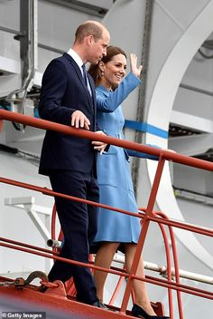 The Duke & Duchess of Cambridge attend the naming ceremony for The RSS Sir David Attenborough on September 2019 in Birkenhead, England.