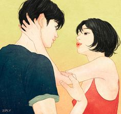Zipcy Capture Intense Love Feelings That You Can Almost Feel It. Art And Illustration, Korean Illustration, Couple Drawings, Art Drawings, Anime Couples, Cute Couples, Art Watercolor, Intense Love, Cute Couple Art
