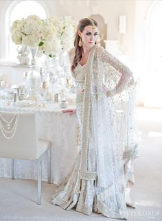 Beaded white outfit. Great fusion lehenga for a south Asian wedding