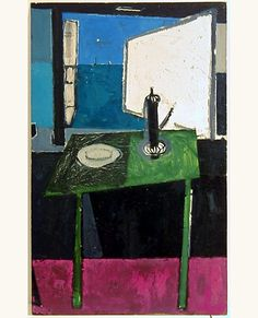Green Table and Coffee-Pot in front of Sea Window : 1953 - Patrick Heron Paintings I Love, Seascape Paintings, Modern Paintings, Patrick Heron, Still Life Drawing, Painting Inspiration, Les Oeuvres, Design Art, Modern Art