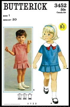 Butterick 3452 Toddler Dress with Box Pleated Skirt Vintage Sewing Pattern Size 2 Little Girl Dress Patterns, Little Girl Dresses, Retro Mode, Mode Vintage, Vintage Kids, Vintage Style, Childrens Sewing Patterns, Vintage Sewing Patterns, Middy Dress