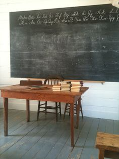 My heart is drawn to the simplicity of this setting. Chalkboard with cursive letters. Simpler times.