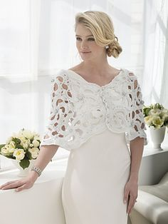 Wedding Capelet - free crochet pattern by Nicky Epstein. Made up of full and half motifs. Lion Brand registration may be required