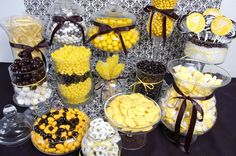 How to Create the Ultimate Candy Buffet with Candy Galaxy for any party or event. Sunflower Party, Sunflower Baby Showers, Emma Wiggle, Wiggles Party, Batman Birthday, Batman Party, 50th Birthday, Yellow Candy, Baby Shower Candy