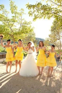 lovely yellow bridesmaid dresses