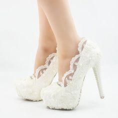 COP$169.000 Zapatos elegantes de boda con plataforma y tacón aguja en cuatro altur High Heels Stilettos, Stiletto Heels, Shoes Heels, Sexy Heels, Bridal Wedding Shoes, Lace Wedding, White Shoes, Womens High Heels, Fashion Shoes