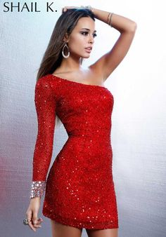 Shail K One Sleeved Beaded Prom Dress 3157