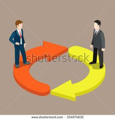 Flat 3d isometric switch staff change management concept web infographics vector illustration. Two businessmen on refresh icon arrows. Creative people collection.