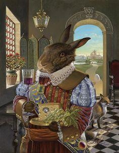 Anthropomorphic rabbit painting by David Henderson