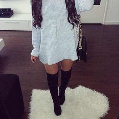 thigh highs and big sweaters.
