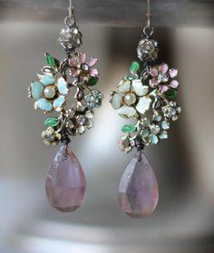 assemblage vintage earrings crownedbygrace.etsy.com