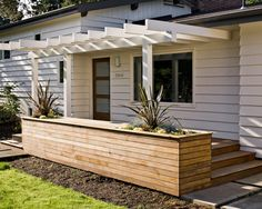 Patio & Garden Designs, Exterior With Raised Large Outdoor Planters Box On The Porch And Also Some Wall Planters On Upstairs Balconies Using Large Outdoor Planter Box Designs To Decorate Your Garden: Using Large Outdoor Planter Box Designs to Decorate Your Garden