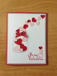 Handmade Valentine card kit -heart in the jar -md w/ mostly stampin up product