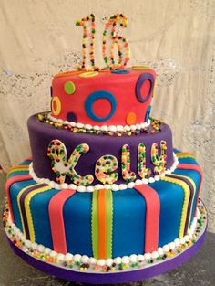 """This cake really stand out with its bright colors! The numbers and letters are all outlined in """"Nerds"""" candy. Nerds Candy, Edible Favors, Sweet 16 Cakes, Tiered Cakes, Let Them Eat Cake, Custom Cakes, Birthday Cakes, Bright Colors, Tart"""