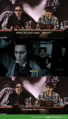 Funny pictures about Tim Burton is a perfectionist. Oh, and cool pics about Tim Burton is a perfectionist. Also, Tim Burton is a perfectionist. The Comedian, Johny Depp, Films Cinema, Johnny Depp Movies, Johnny Depp Quotes, My Guy, Just For Laughs, Comedians, The Funny