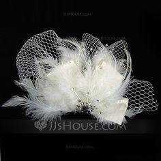Headpieces - $9.99 - Glamourous Rhinestone/Feather/Tulle Fascinators (042025230) http://jjshouse.com/Glamourous-Rhinestone-Feather-Tulle-Fascinators-042025230-g25230