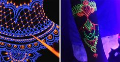 Los tatuajes de henna neón serán tu nuevo accesorio favorito para las noches de antro Captain Hat, Glow, Tattoos, Body Paint, Presidents, Nails, Ideas, Fashion, Stick Poke Tattoo