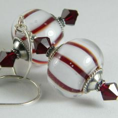 GMD Lampwork Glass Earrings PEPPERMINT GLOBES sterling silver artisan usa SRA