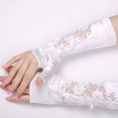 Satin and Lace Fingerless Elbow Length Gloves  $35.00