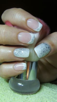 French manicure with silver glitter (nails for brides)
