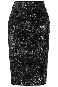 Draped sequined jersey pencil skirt by Donna Karan