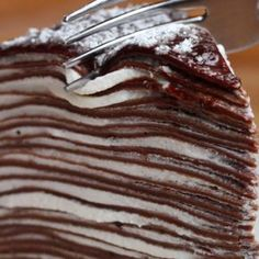 Chocolate Crepe Cake - Recipes, tips and everything related to cooking for any level of chef. Baking Recipes, Dessert Recipes, French Cooking Recipes, Pancake Recipes, Waffle Recipes, Pie Dessert, Dinner Recipes, Chocolate Crepes, Crepe Cake Chocolate