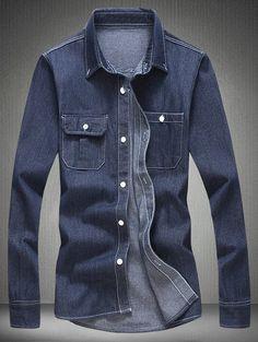 Long Sleeve Pocket Denim Shirt #shoes, #jewelry, #women, #men, #hats, #watches